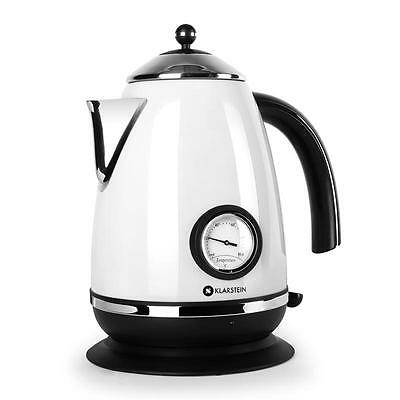 Quick Boil 1.7L Litre 2200W Electric Kettle Stainless Steel White Jug Cordless