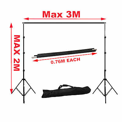 2x3m Light Stand Tripod Studio Photo Support For Photography Screen Backdrop Kit