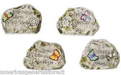 GARDEN STONE decorative Butterfly Dragonfly bless welcome love grow ceramic rock