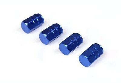 4pcs Blue Wheel Tyre Tire Valve Stems Air Dust Cover Screw Caps Car Truck Bike