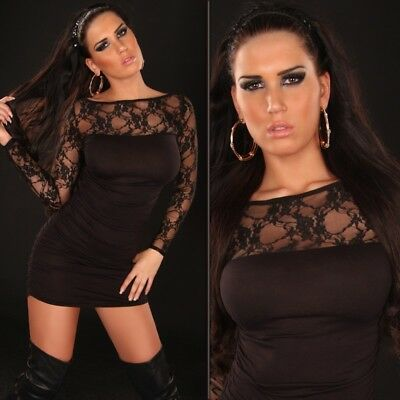 Womens Sexy Long Sleeve Lace Bodycon Party Mini Dress size 8 10 12