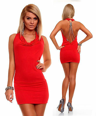 Womens Sexy Cowl Neck Backless Bodycon Party Mini Dress size 8 10 12 14
