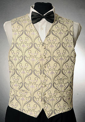 W - 1056.mens And Boys Cream And Lilac Floral Waistcoat Wedding/ Dress/ Formal