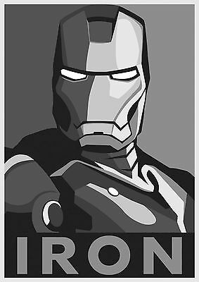 Iron Man Deco Large Poster Art Print Black & White Canvas or Card