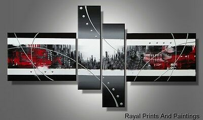 Grey Centered City Abstract Oil Painting | Framed | Office Decor | Group Art