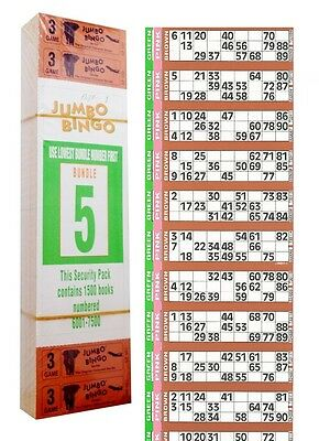 3000 Books 3 Page (Games) 12 To View (Strips Of) Jumbo Bingo Tickets Sheet