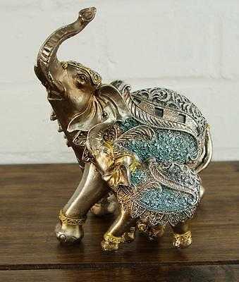 Steel Blue & Gold Lucky Elephant and Baby Ornament Gift Figurine '14cm' 55294