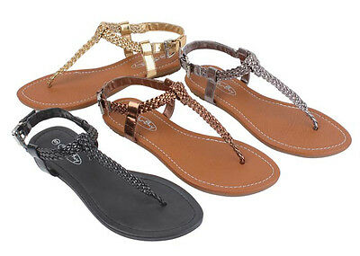 Women's Sandals Gladiator Roman Flats Classic Thongs T Straps Shoes, Sizes: 5-11