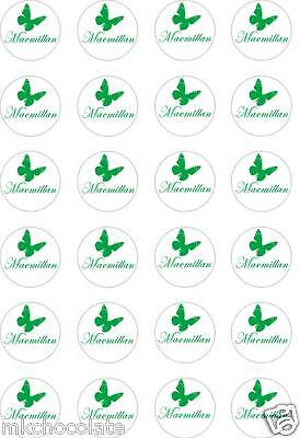 24x PRECUT MACMILLAN B CANCER SUPPORT/CHARITY RICE/WAFER PAPER CUP CAKE TOPPERS
