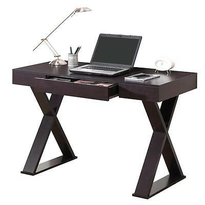 Modern Trendy Computer Desk With Pullout Center Drawer in Espresso Finish