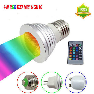 4W E27 GU10 MR16 RGB Color LED Bombillas Flash Light Bulb Home Party Decor Lamp