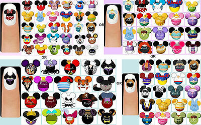60x Disney Characters, Princesses Prince OR Villains Nail Art Decals + Free Gems