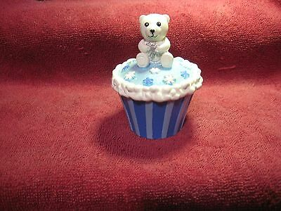 Claire's Collectible Trinket Box White Bear On A  Cupcake