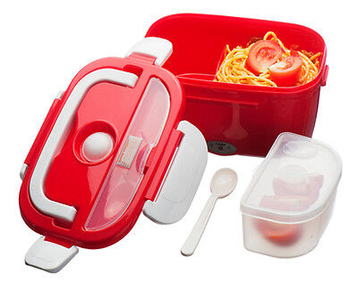 Red Electric Heated Portable Compact FOOD WARMER Lunch Bento Box 40W 1.5L NEW UK