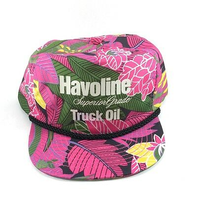 Havoline Truck Oil Rare Vintage Trucker Snapback Rope Hat Hawaiian Tropical PInk
