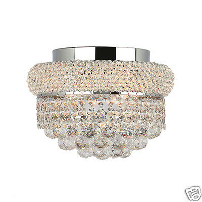 """US BRAND French Empire 4 Light Crystal Flush Mount Ceiling Light 12"""" Round SALE"""