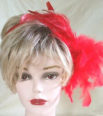 Red Satin Headband with Red Feather Hackles Valentines Red Hat Christmas Costume