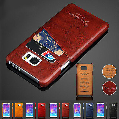 Leather Card Slot Wallet Back Case Cover for Samsung Galaxy S6 Edge Plus Note S7