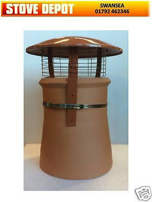 Chimney Pot Rain and Bird Cowl Multifuel Open Fire Woodburning Stove Terracotta