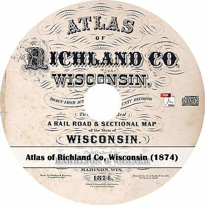1874 Richland County, Wisconsin Atlas - History Genealogy Maps Book on CD