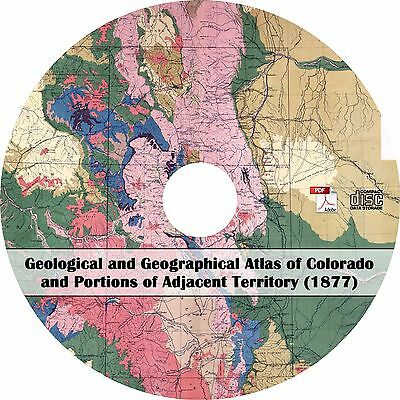 1877 Geological and Geographical Atlas of Colorado - Maps Survey Book on CD