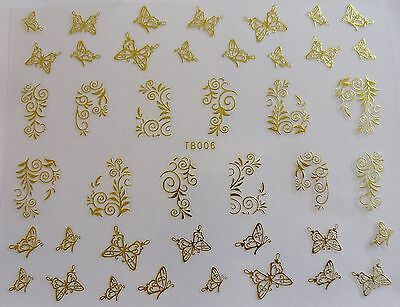 Nail Art 'Gold Lace Swirls Butterflies' Self Adhesive Wrap Sticker Decals 006