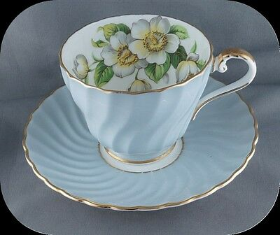 Aynsley Blue Swirl BC Dogwood Floral Cup & Saucer c1611