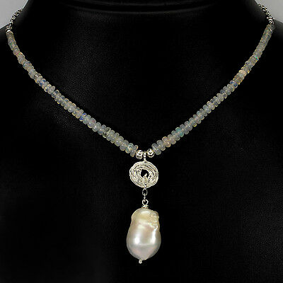 71 Cts! Rare!! Natural Baroque Pearl & Hot Rainbow Fire Opal 925 Silver Necklace