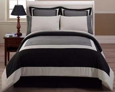 Chezmoi Collection 8pcs Black Gray Hotel Bed-in-a-Bag Comforter Sheet Set Queen