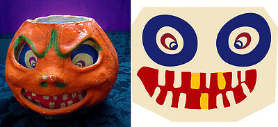 "Glassine Replacement Face For The ""Sneering Jol"" Halloween Paper Mache Lantern S"