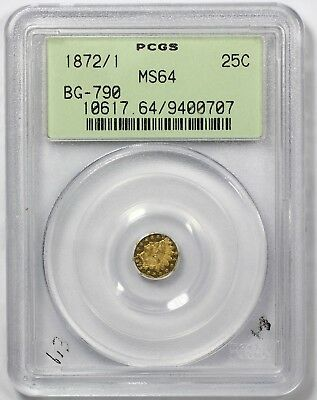1872/1 PCGS MS64 California Indian Fractional Gold 25 Cents 1/4 Dollar BG-790