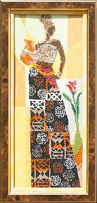 African woman with Jar bead embroidery in brown double frame
