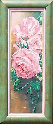 Pink roses bead embroidery in double pink-green frame