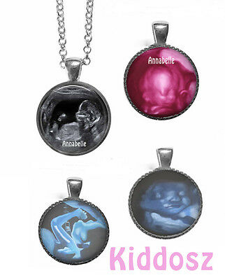 Ultrasound photo sonogram personalized necklace with glass pendant keepsake