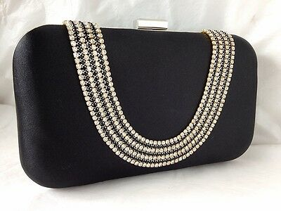 New Black Satin & Diamante Hard Box  Evening Day Clutch Bag Christmas Party Sale