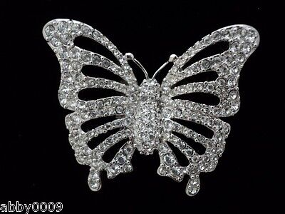 Signed Swan Swarovski Rhodium Plated Pave Butterfly
