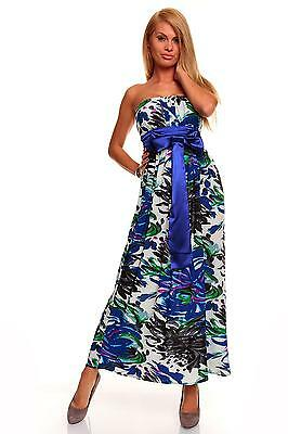Womens Summer Floral Sexy Strapless Party Evening Long Maxi Dress size 8 10 12