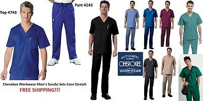 Cherokee Workwear Men's Scrubs Sets Core Stretch Top 4743 Pant 4243  ALL COLORS