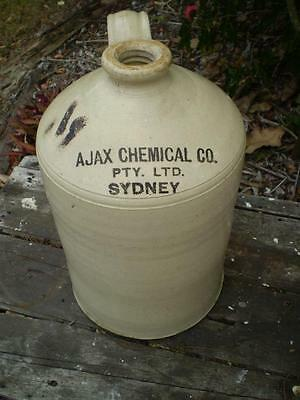 Large Collectable stone pottery Bottle Ajax chemical co Vintage storage bottle