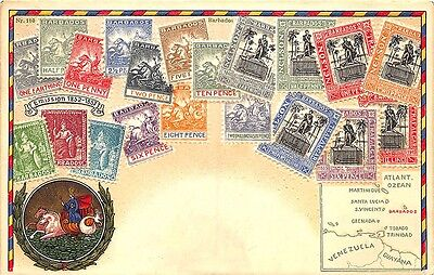 Barbados Posted in 1909 Embossed Stamp Postcard