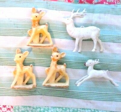 Vintage Deer LOT of FIVE Candles and Plastic Figures Fawn RUDOLPH