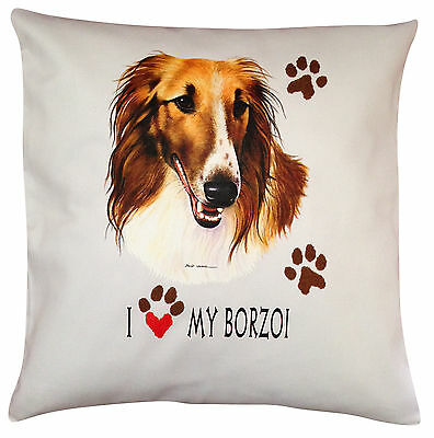Borzoi Russian Wolfhound Heart Breed of Dog Cotton Cushion Cover - Perfect Gift