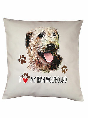 Irish Wolfhound Heart Breed of Dog Cotton Cushion Cover - Perfect Gift