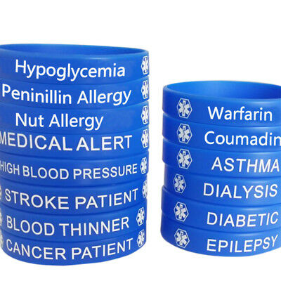 Blue Medical Alert Food Grade Silicone Rubber Bracelet Wristband Emergency SoS