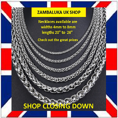 """18""""-26"""" Mens Womens Stainless Steel 316L Silver Braided Chain Necklace No: 2"""