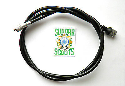 Speedo Cable Black.indian Threaded For Vbb,vba,super,vespa Sprint & Sportique