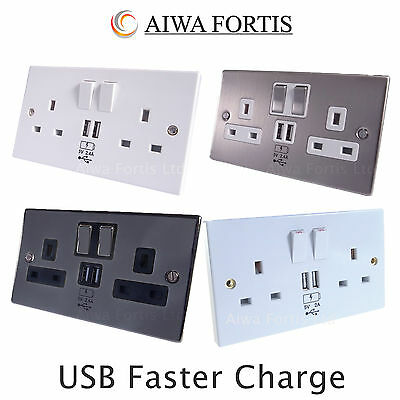 2 USB Double Gang Electrical Plug Socket Outlets Electric Wall Faceplate 2.4 Amp