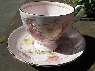 Tuscan Fine English Bone China Cup and Saucer - Pink Hue, Gold Trimmed