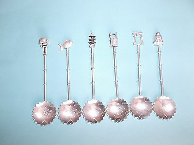 Set of 6 950 Sterling Silver Teaspoons, Japan, Japanese Themed Tips, 36.8g tw