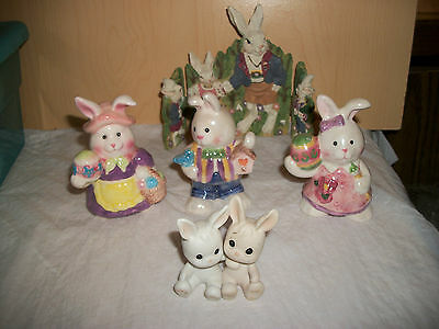 Lot of 5 Rabbit and Bunny Figurines -